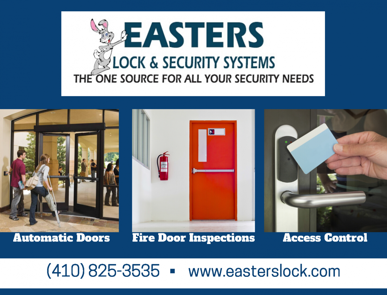 Eatsers Lock & Security Systems - The one source for all your security needs. Atomatic doors, fire door inspections, access control, and more. Call 410 825 3535 or head to www.easterslock.com